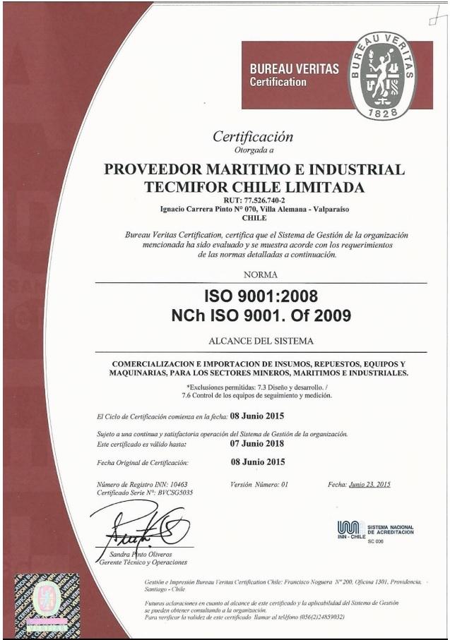 Certificate ISO 9001 INN