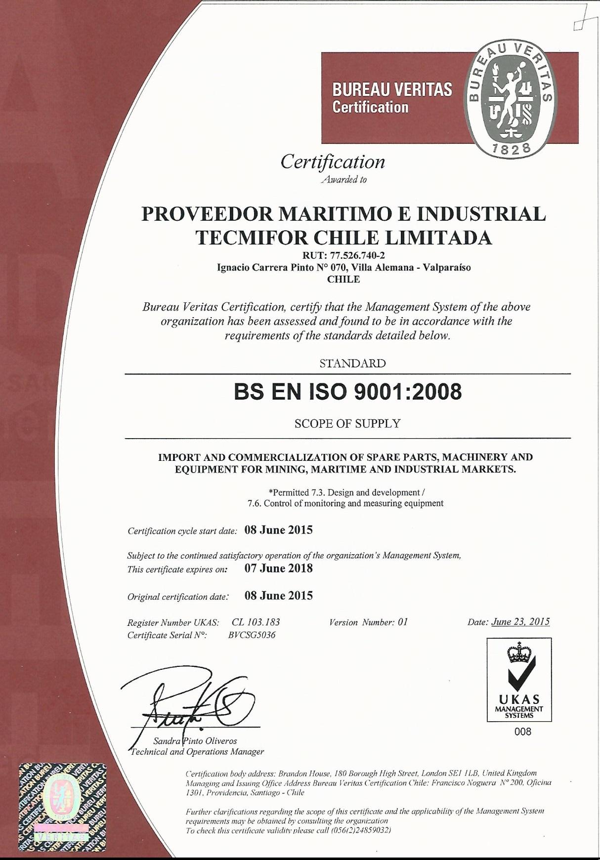 Certificate ISO 9001 UKAS